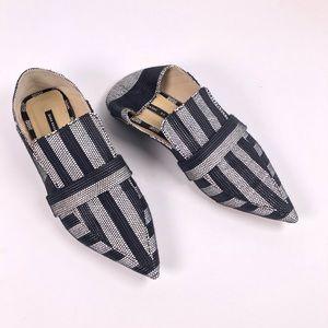 Zara    Black Stripe Mule Loafers Size 37